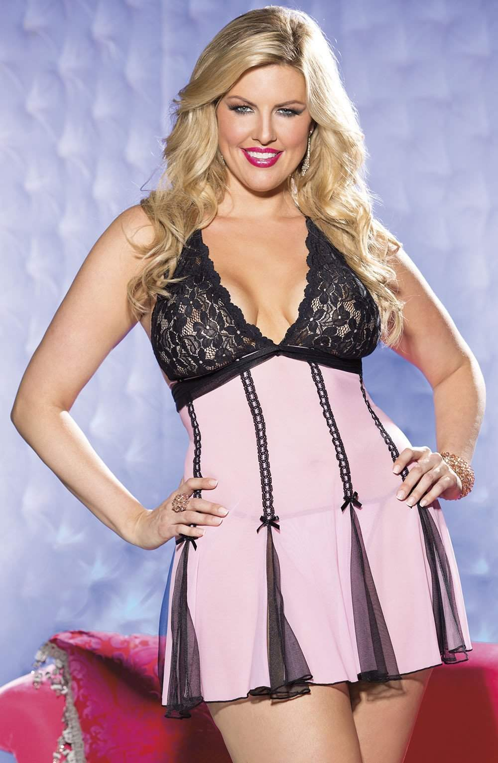 SoH-IA Stretch Lace Babydoll Pink/Black - Shirley of Hollywood - Katys Boutique Lingerie USA