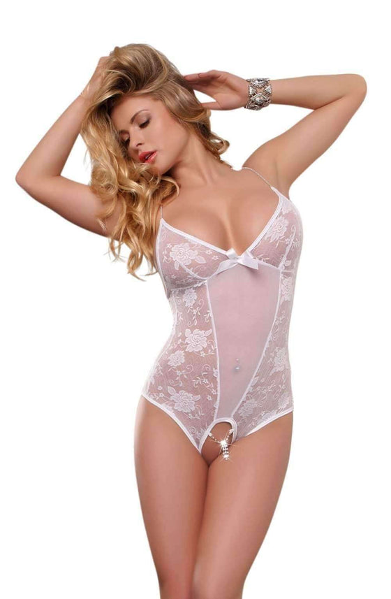 YX104 Teddy in White by YesX - YesX - Katys Boutique Lingerie USA