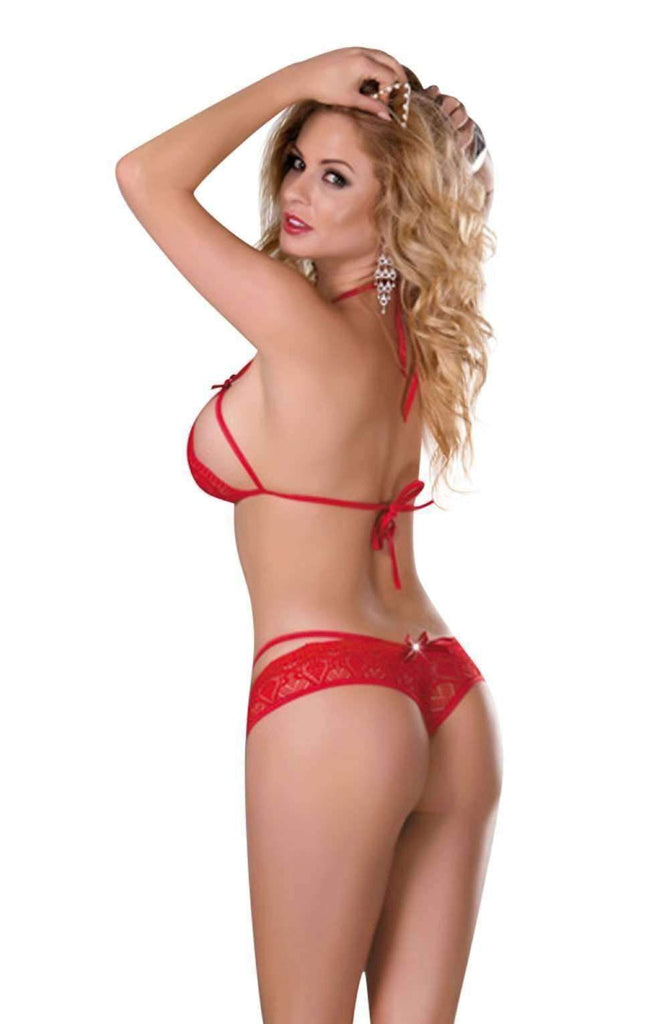 YX501 Halter Neck Bra Set in Red by YesX - YesX - Katys Boutique Lingerie USA