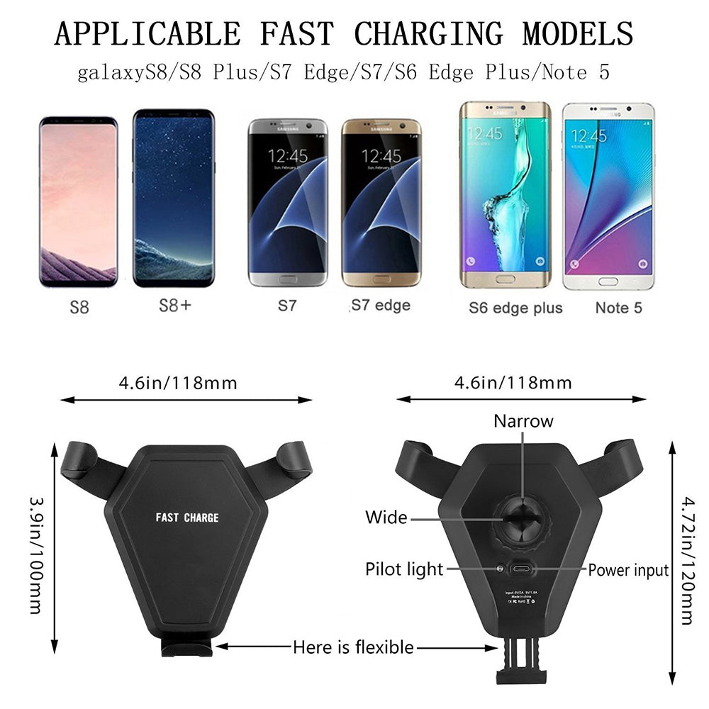 Cell Phone Holder With Qi Wireless Charger Power Bank Mobile Car Automotive Outlet Sucker Mounting Brackets Dash Cellular