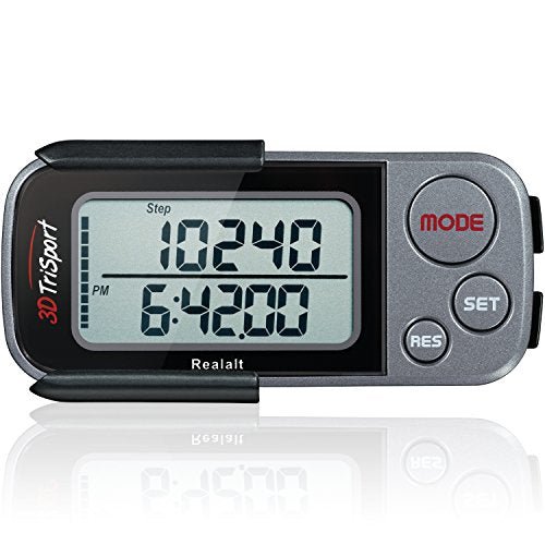 3DTriSport Walking 3D Pedometer with Clip and Strap, Free eBook | 30 Days Memory, Accurate Step Counter, Walking Distance Miles/Km, Calorie Counter, Daily Target Monitor, Exercise Time.