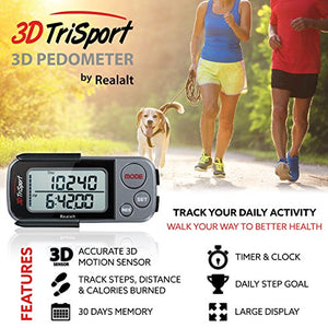 3DTriSport Walking 3D Pedometer with Clip and Lanyard