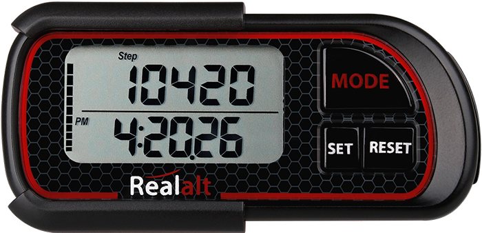 Realalt 3D Pedometer with Clip and Strap, Model P08R