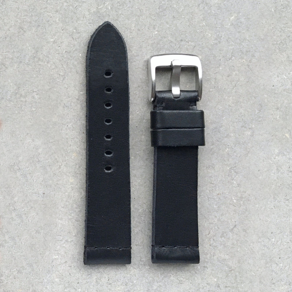 Vegetable Tanned Leather Strap - Black