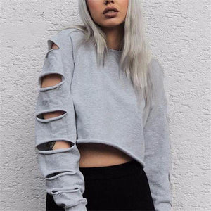 Casual Long Sleeve Crop Top