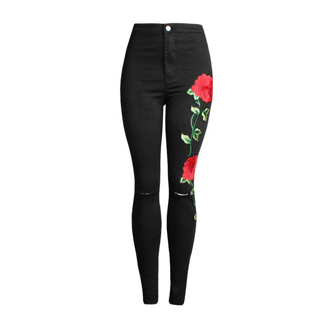 American Apparel Rose Embroidered Pants