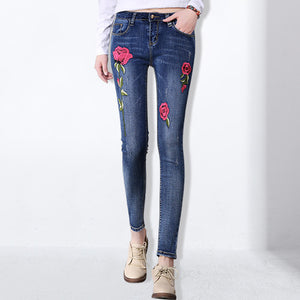 Embroidered Rose Denim Jeans