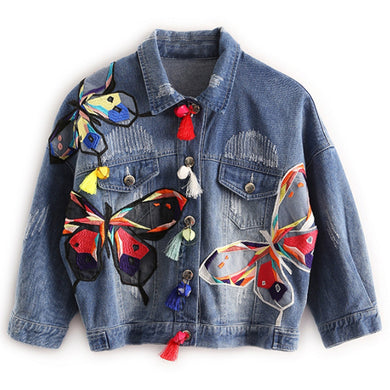 Vintage Butterfly Embroidered Denim Jacket