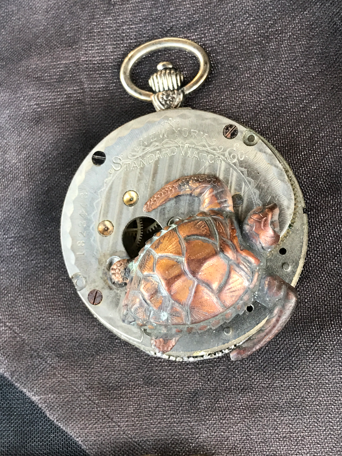 New York Standard  Sea Turtle Pocket Watch Necklace