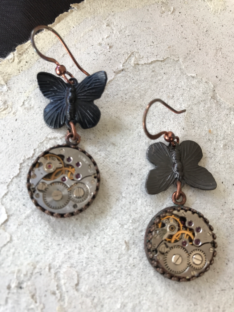 Ginny, Copper and Oxidized Butterfly Earrings