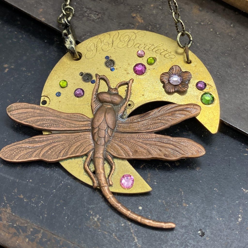 Willow, Dragonfly Timepiece Necklace - The Victorian Magpie