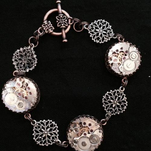 Bridgette, Filigree Movement Bracelet - The Victorian Magpie