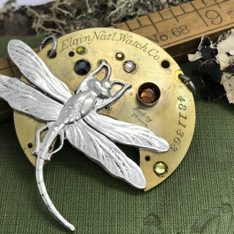 Willow, Dragonfly Timepiece Necklace