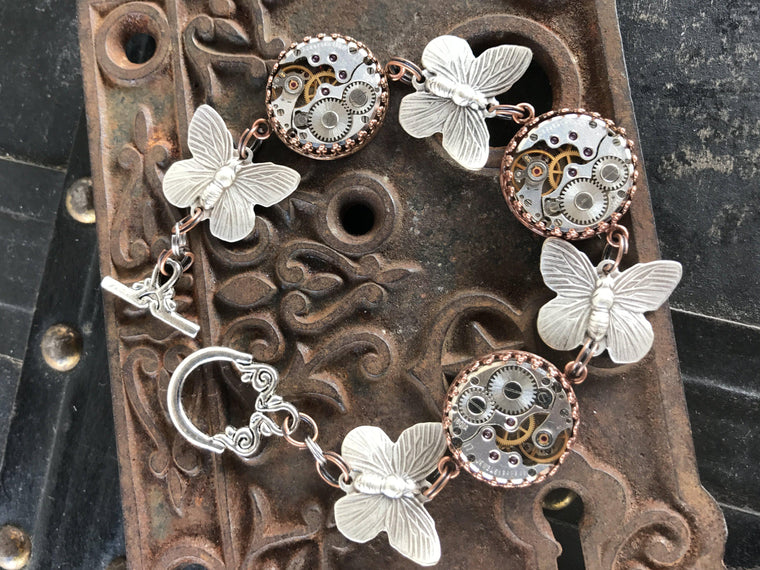 Nella, Jeweled Watch Movement with Butterflys Station Bracelet