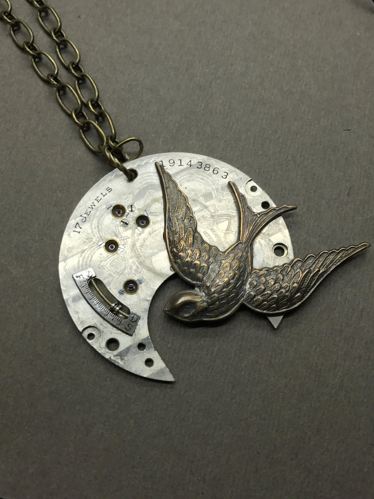 Sybil, Swallow Steampunk Necklace