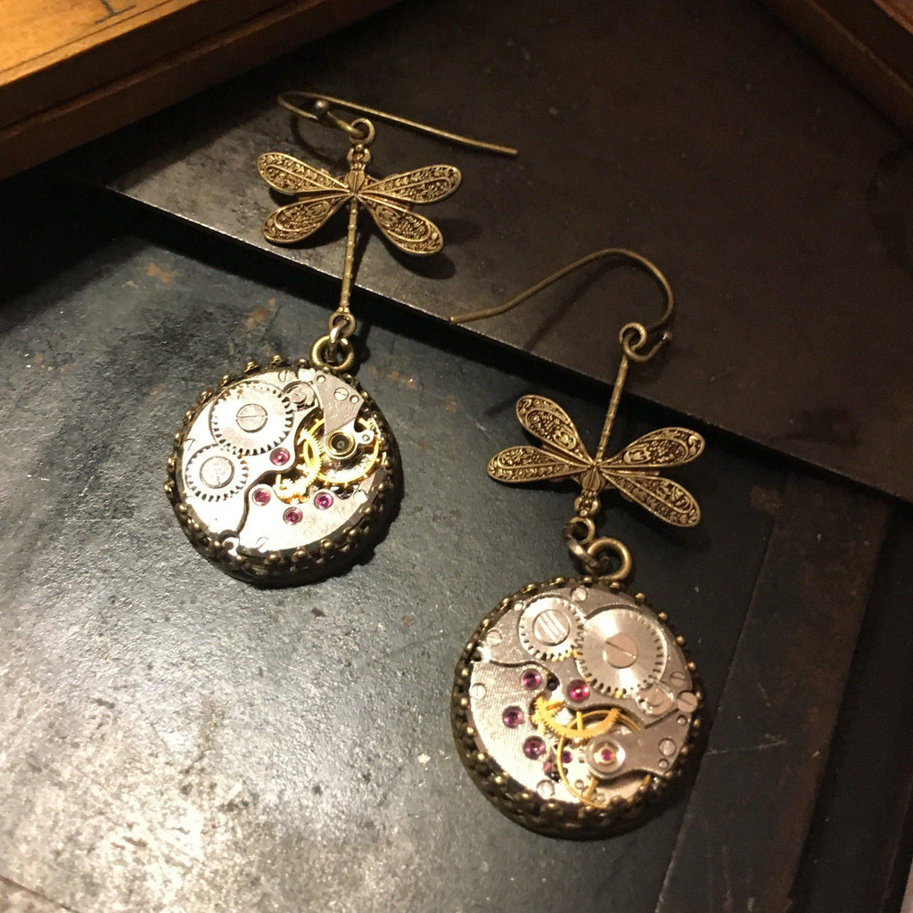 Nadine, Medium Dragonfly Earrings