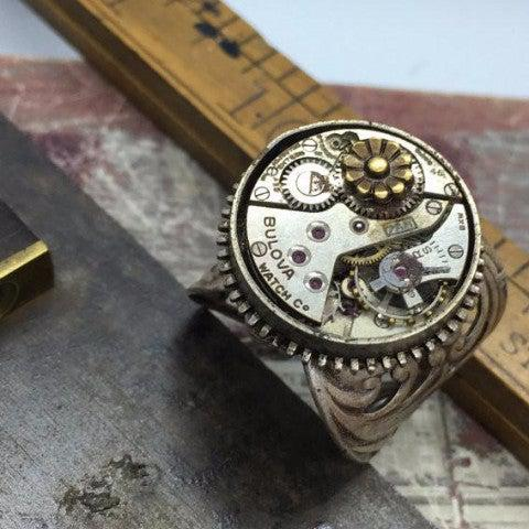 Vintage Watch Movement Ring with Flower Charm on Adjustable Filigree Band - The Victorian Magpie