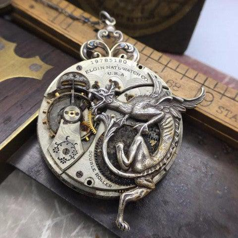 Vintage Elgin National Watch Movement Necklace with Dragon Charm