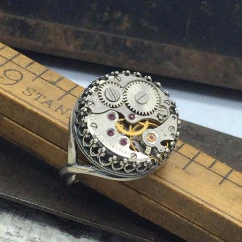 Jane Watch Movement Ring - The Victorian Magpie
