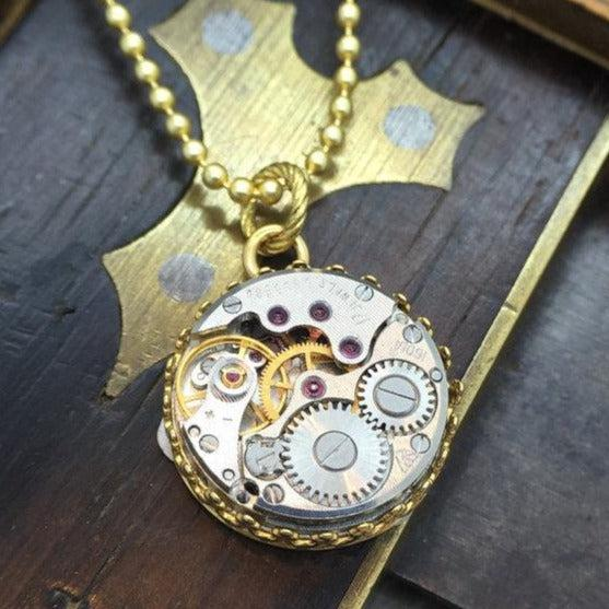 Jane, Vintage Round Watch Movement Necklace
