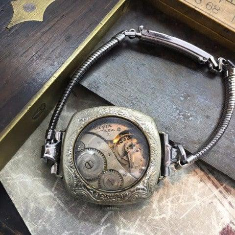 Vintage Watch Case Bracelet with Vintage Watch Movement - The Victorian Magpie