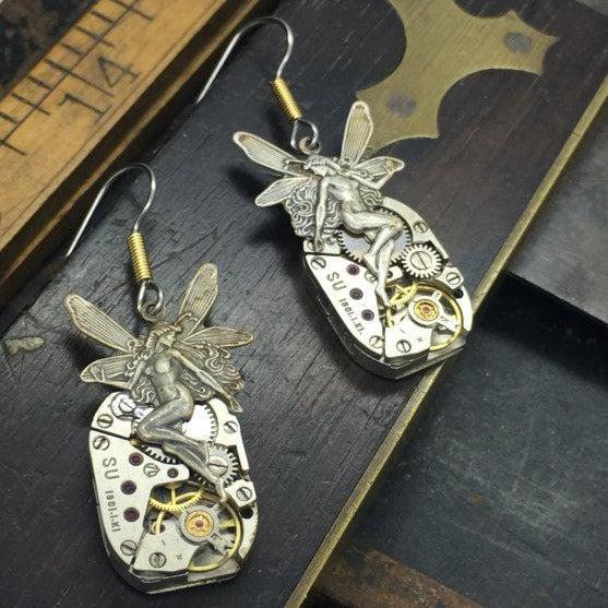 Vintage Watch Movement Earrings with Vintage Fairy Charm