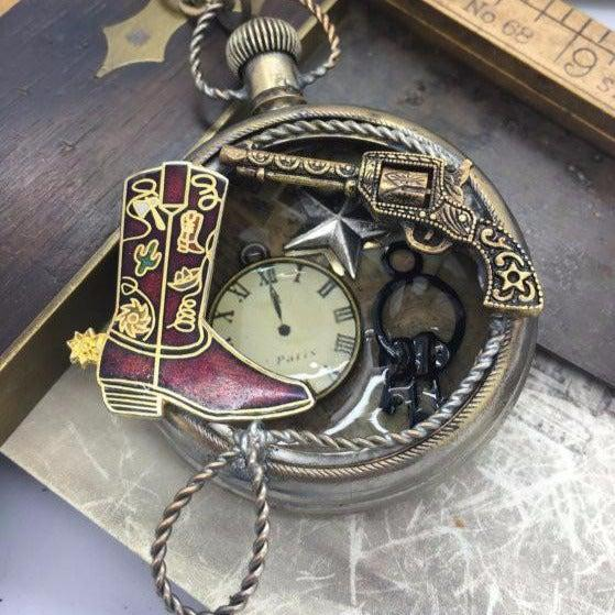 Vintage Wild West Watch Case Necklace - The Victorian Magpie