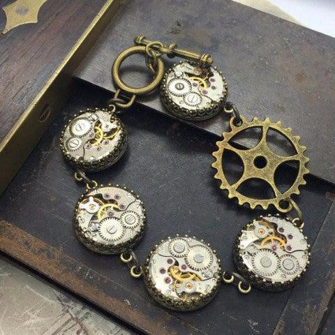 Antique Brass Vintage Watch Movement Bracelet with Toggle Clasp