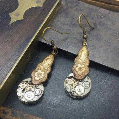 Vintage Watch Movement Earrings with Floral Charm Tops - The Victorian Magpie