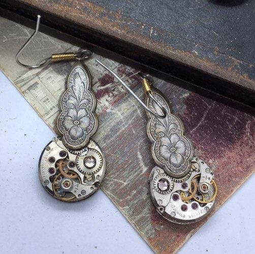 Vintage Watch Movement Earrings with Floral Charm Tops and Swarovski Accent