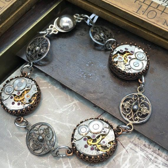 Selma, Vintage Watch Movement Station Bracelet with Filigree Charms