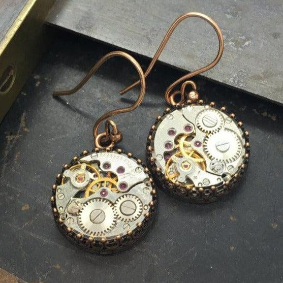 Jane - Vintage Watch Movement Earrings on French Wire