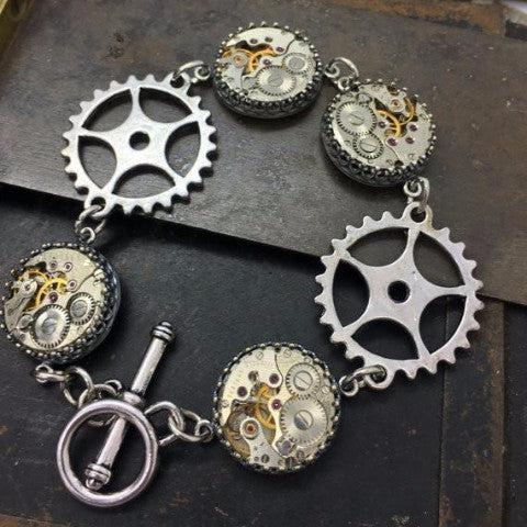 Vintage Watch Movement and Gear Bracelet with Toggle Clasp