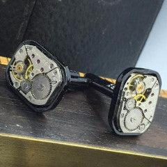 Rectangle Vintage Watch Movement Cufflinks - The Victorian Magpie