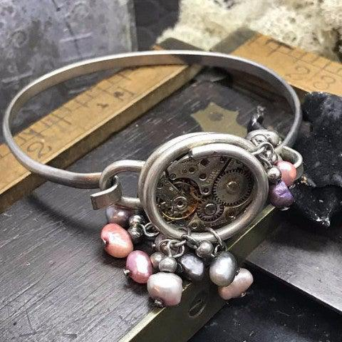 Vintage Watch Movement Bangle Bracelet with Bead Accents