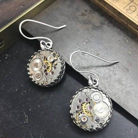 Vintage Watch Movement Earrings on French Wire