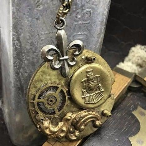 Vintage Watch Movement Necklace with Locomotive Charm