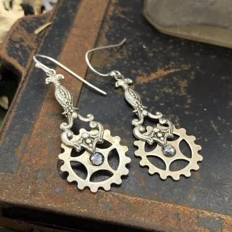 Vintage Watch Gear Earrings with Swarovski Crystals