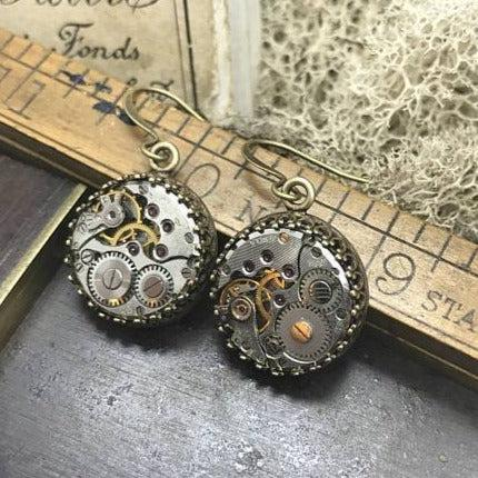 Jane, Vintage Watch Movement Earrings - The Victorian Magpie