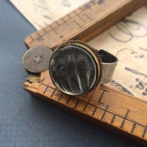 Resin Vintage Bear Claw Button Casting Ring - The Victorian Magpie