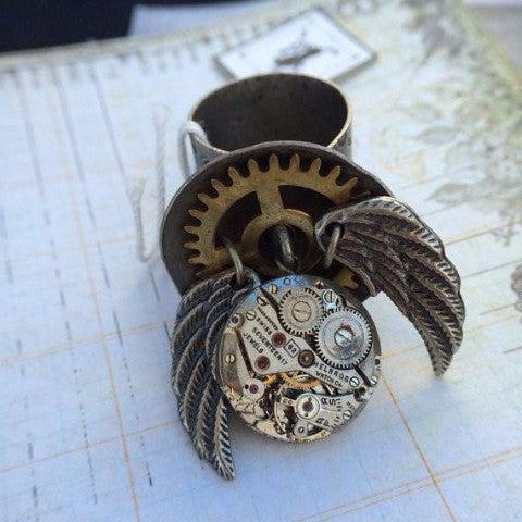Vintage Watch Movement Ring with Antique Wing Charms