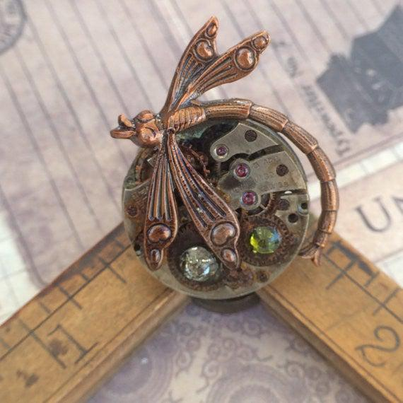 Vintage Watch Movement Ring with Antique Dragonfly Charm and Swarovski Crystal Accents - The Victorian Magpie