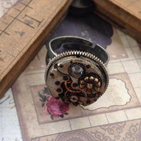 Vintage Round Watch Movement Ring with Antique Flower Charm and Swarovski Crystal Accents