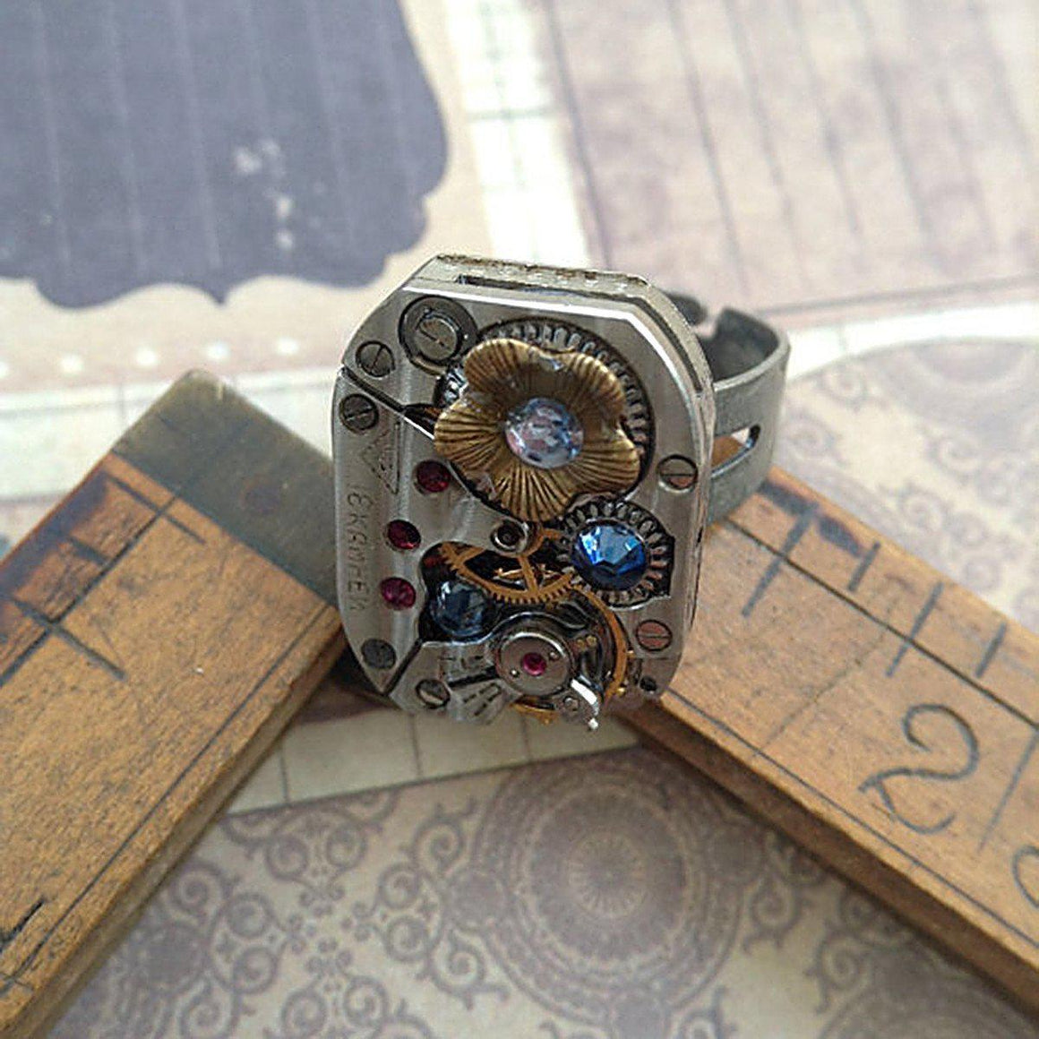 Vintage Watch Movement Ring with Flower Charm and Swarovski Crystal Accents - The Victorian Magpie