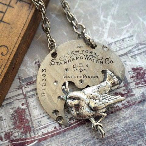 Vintage Pocket Watch Plate Necklace with Bird Charm