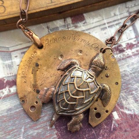 Vintage Watch Plate Necklace with Sea Turtle Charm