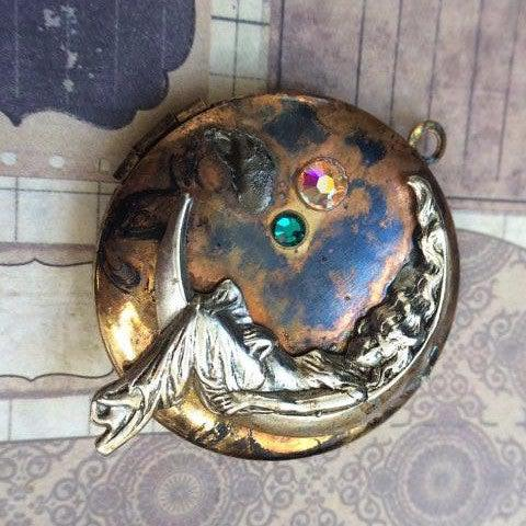 Vintage Steampunk Inspired Locket with Lady in the Moon Charm - The Victorian Magpie