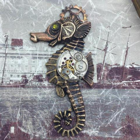 Vintage Watch Movement Seahorse Necklace