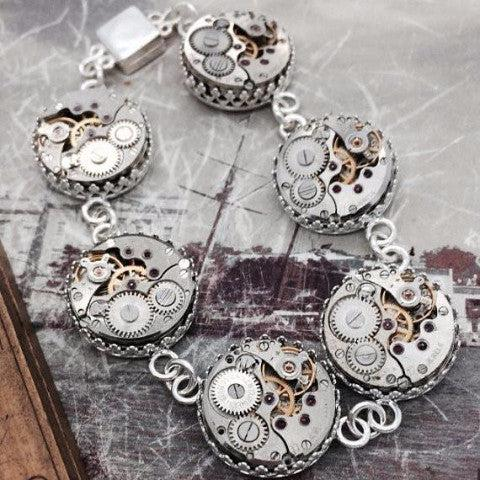 Mary, Sterling Silver Watch Movement Station Bracelet with Magnetic Clasp