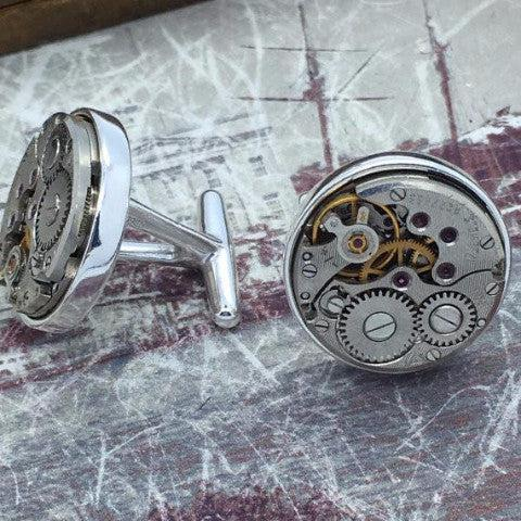 Sterling Silver Watch Movement Cufflinks - The Victorian Magpie